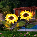 Homeelux Outdoor Sunflower Solar Garden Decor Yard Stake, 26'' Decorative Lights for Garden Patio Porch Backyard (2 Pack)