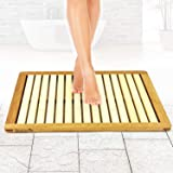 Bamboo Wood Bathroom Bath Mat - Heavy Duty Natural or Shower Floor Foot Platform Rug with Elevated Design for Water Evaporati
