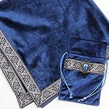 INIBUD タロットクロス ベルベット タロットカード用 ポーチ付 65×65cm 高級 厚手 賢者の石 (ブルー)