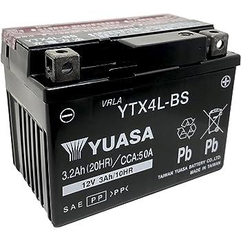 YUASA 台湾 ユアサ バイク用 バッテリー 液別 YTX4L-BS ( YT4L-BS / FT4L-BS / GT4L-BS / KT4L-BS / FTH4L-BS / GTX4L-BS 互換 )