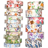 YUBX Flower Gold Washi Tape Set VSCO Foil Decorative Tape for DIY Crafts, Bullet Journals, Planners, Scrapbooking, Wrapping 8