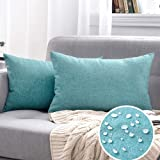 MIULEE Pack of 2 Decorative Outdoor Solid Waterproof Throw Pillow Covers Cotton Linen Garden Farmhouse Cushion Cases for Pati