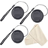 waka 52mm Camera Lens Cap with Lens Cap Keeper & Microfiber Cleaning Cloth for Nikon, Canon, Sony & Other DSLR Camera - Pack