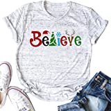 Oriental Pearl Believe Christmas Tree Shirt Women Casual Letters Printed Short Sleeve T Shirt Lady Graphic Tees for Xmas