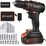 """Cordless drill set, GOXAWEE 20V Brushless Power Drill Kit, 2.0 Ah Battery, 3/8"""" Keyless Chuck, 2 Variable Speed, Fast Charger"""