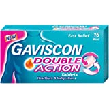 Gaviscon Chewable Tablets for Heartburn and Indigestion Double Action, 16ct