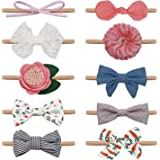 Salsie Baby Girl Headbands and Hair Bows For Newborn Infant Toddler Nylon Hairbands, Gift, 10 Pack Hair Accessories Gift Mult