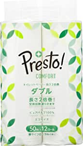 [Amazonブランド]Presto! Comfort トイレットペーパー 長さ2倍巻50m x 12ロール ダブル (12ロールで24ロール分)