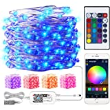 Smart WiFi RGB Fairy String Light, 32.8ft 100LED Indoor/Outdoor Waterproof USB Charge Color Changing Music Copper Wire String