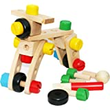 TOWO Wooden Nuts and Bolts Set Building Blocks Construction Kit 30 Pieces Travel Toy- Model Building Tool Kits for Kids - Woo