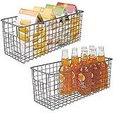 mDesign Farmhouse Decor Metal Wire Food Storage Organizer Bin Basket with Handles for Kitchen Cabinets, Pantry, Bathroom, Lau