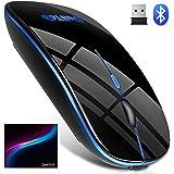 【Bluetooth5.0 七色ライト付き】 ワイヤレスマウス Bluetooth マウス 静音 無線 マウス 超薄型…