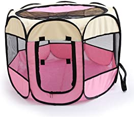 Junpony オクタゴン ペット用サークル 犬 猫 ケージ アウトドア 折りたたみ メッシュサークル ピンク