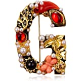RINHOO Crystal Pearl Initial Brooch Gold Plated Enamel Colorful Letter Alphabet Breastpin Pin Jewelry for Gifts