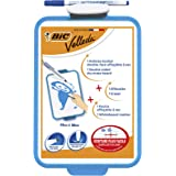 BIC 841360 Velleda Double-Sided Dry Erase Board - Pack of 1 - Size 19 x 26 cm with Blue Whiteboard Marker and Eraser - for Of