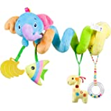 Car Seat Toy, Baby Activity Spiral Plush Hangings Stroller Crib Toy Accessories for boy or Girl(Blue-Elephant)