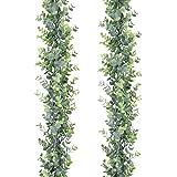 DearHouse Artificial Ivy Vine and Eucalyptus Garland Faux Eucalyptus Leaves Vines M-2pc Eucalyptus Garlands