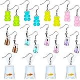 10 Pairs Bear Earrings Goldfish Earring Milk Tea Earrings Colorful Cartoon Funny Dangle Drop Cute Resin Earrings for Women