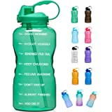 Giotto Large 1 Gallon/128oz Motivational Water Bottle with Time Marker & Straw, Leakproof Tritan BPA Free, Ensure You Drink E