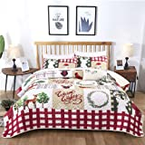 Christmas Bedspread Set King,Christmas Treee Reversible Bedding Quilt Set Coverlet with 2 Pillow Shams, Ultra Soft Micorfiber