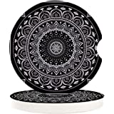 Absorbent Car Coasters for Cup Holders Black and White Indian Mandala, Small 2.56inch Ceramic Stone Drink Coaster for Women M