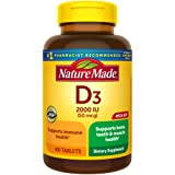 Nature Made Vitamin D3, 400 Tablets Mega Size, Vitamin D 2000 IU (50 mcg) Helps Support Immune Health, Strong Bones and Teeth