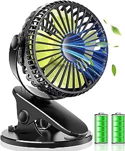 USB扇風機 卓上 扇風機 クリップ式 小型 軽量 静音 USB 充電式 360°角度調整 大風量 無段階調整 4枚羽根 コンパクト (ブラック)