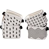 Sea Team Foldable Mini Square New Black and White Theme Natural Linen & Cotton Fabric Storage Bins Simple Desk Shelf Baskets