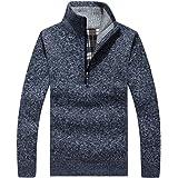 Lisa Pulster ニットセーター ハーフジップ メンズ 長袖 カーディガン フェイクレイヤード 折り襟 ビジネスジャケット 秋冬 防寒 大きいサイズ