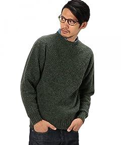Shaggy Dog Wool Crewneck Sweater 3213-399-0427: Olive