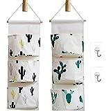 Ricye Cactus Wall Door Closet Hanging Storage Bag Cotton Fabric 3 Pockets Over The Door Organizer Pouch 2 Pack (Cactus)