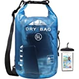 HEETA Waterproof Dry Bag for Women Men, 5L/ 10L Roll Top Lightweight Dry Storage Bag Backpack with Phone Case for Travel, Swi