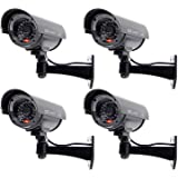 WALI Bullet Dummy Fake Surveillance Security CCTV Dome Camera Indoor Outdoor 1 Flashing LED Light and Security Alert Sticker