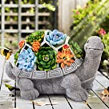 LESES Garden Statues Turtle Outdoor Ornament Figurines with Solar Powered Lights Decorations for Patio Yard Lawn Gardening Gi