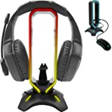 Tilted Nation RGB Headset Stand and Gaming Headphone Display with Mouse Bungee Cord Holder with USB 3.0 HUB for Wired or Wire