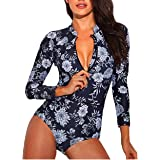 Samtree Surfing Rash Guard for Women, Long Sleeve Sun Protection Swimming One Piece Swimsuit
