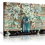 Cnvas Prints Kitchen Wall Decor Beautiful Watercolor-Style Blossoms in A Mason Jar Floral Print by TRE Sorelle Studios; 1 Pan