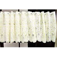 カーテン屋さんアウトレット 小窓用カフェカーテン [エミリア] ペールイエロー色 リーフ柄 幅100cm×丈50cm(1…