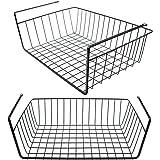 Tebery Under Cabinet Storage Shelf Wire Basket Organizer Fit Dual Hooks for Kitchen Pantry Desk Bookshelf Silver (2 Pack)