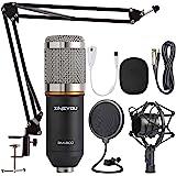 ZINGYOU Condenser Microphone Bundle, BM-800 Mic Kit with Adjustable Mic Suspension Scissor Arm, Shock Mount and Double-layer