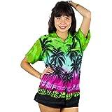 V.H.O. Funky Hawaiian Blouse Women Short-Sleeve Front-Pocket Beach Palm Multi Colors