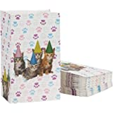 Cat Party Favor Bags - 36-Pack Cat Birthday Pet Party Supplies, Small Paper Gift Bags for Goodies, Cats and Paws Design, 5.1