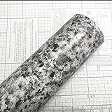 Teemall Light White Granite Look Marble Gloss Film Vinyl Self Adhesive Kitchen Countertop Peel Stick Wallpaper Decal 17.7''x9