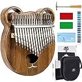AKLOT クマカリンバ17キー, 親指ピアノ アフリカ楽器 ソリッドウッド ハンマー、スタディガイド、清掃クロス、ケース付き 指オルゴール (クマ)