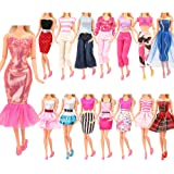Barwa Lot 10 Sets Fashion Casual Wear Clothes Dresses Outfit for 11.5 Inch 28 - 30 cm Doll Random Style Xmas Gift