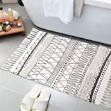 KIMODE Tufted Cotton Area Rug,Hand Woven Print Tassels Throw Rugs Door Mat with Non-Slip Pads,Indoor Area Rugs Blanket for Ba