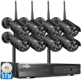 HisEEu Wireless Security Camera System,8CH 1080P NVR Home Security Camera System(CCTV Kits) with 8PCS 960P Inddor/Outdoor Bul