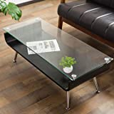 システムK 曲げ木センターテーブル ガラステーブル ローテーブル 強化ガラス天板 ブラック