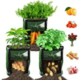 【3 Pack】 Potato Grow Bags, Plant Grow Bags 7 Gallon Heavy Duty Thickened Growing Bags Garden Vegetable Planter with Handles &