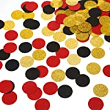 MOWO Glitter Paper Confetti Circles Table Decoration and Wedding Party Decoration, 1.2'' in Diameter (Gold Glitter, Black, re